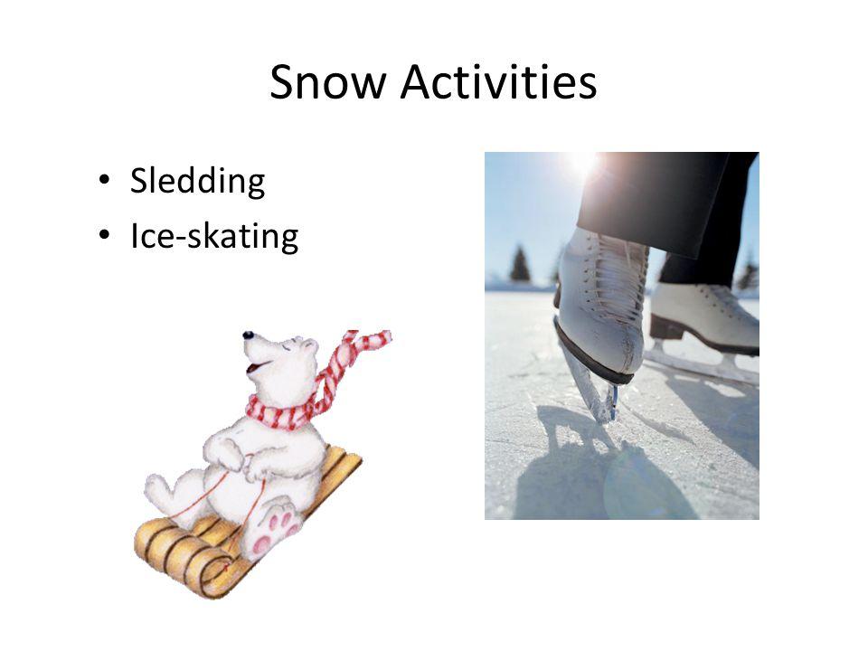 Snow Activities Sledding Ice-skating