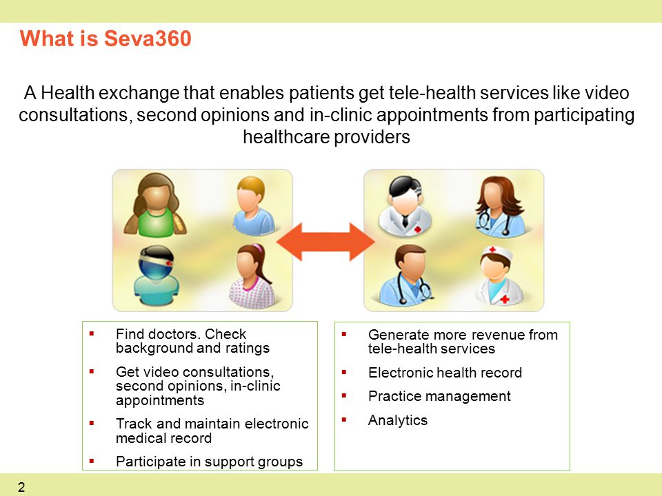 2 What is Seva360 A Health exchange that enables patients get tele-health services like video consultations, second opinions and in-clinic appointments from participating healthcare providers  Find doctors.