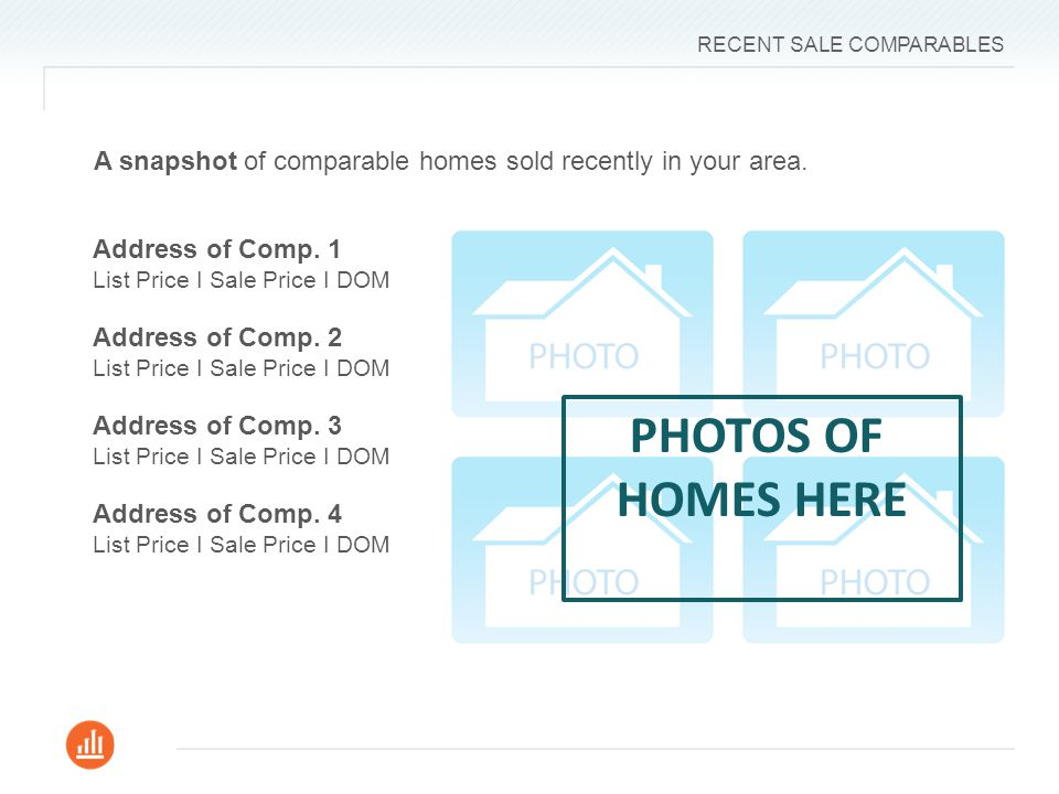 RECENT SALE COMPARABLES 3 PHOTOS OF HOMES HERE Address of Comp.
