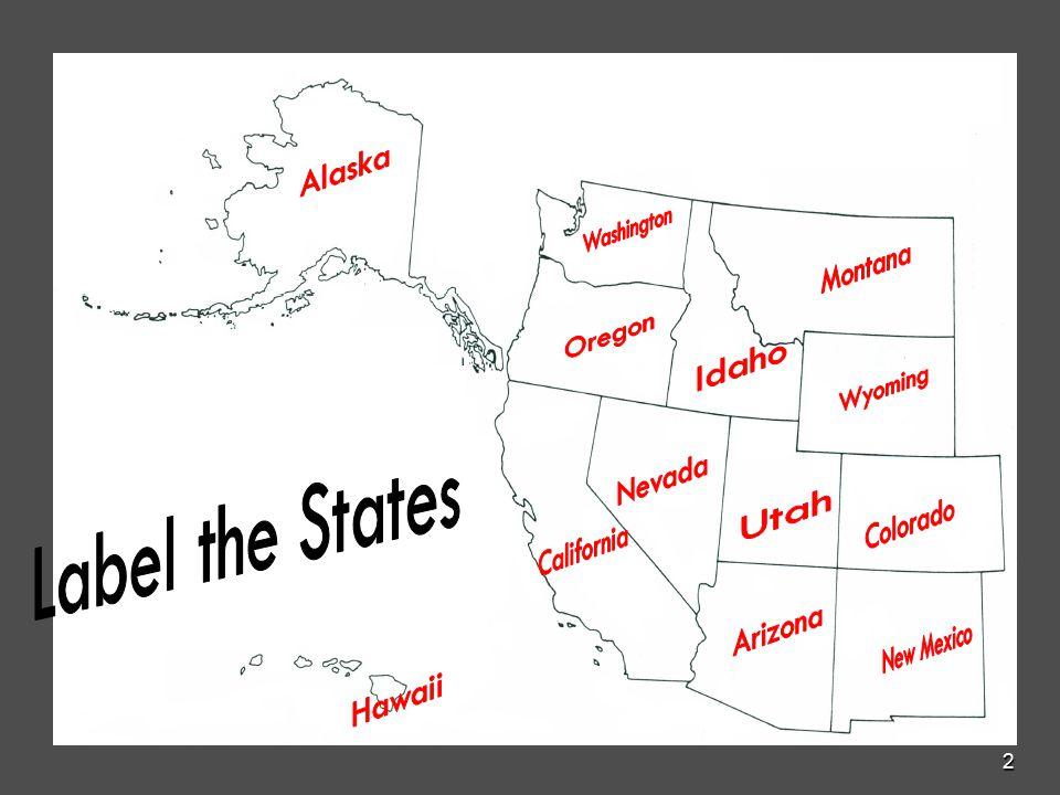 Western United States Postal Abbreviations WA Washington ID - Us map with postal abbreviations