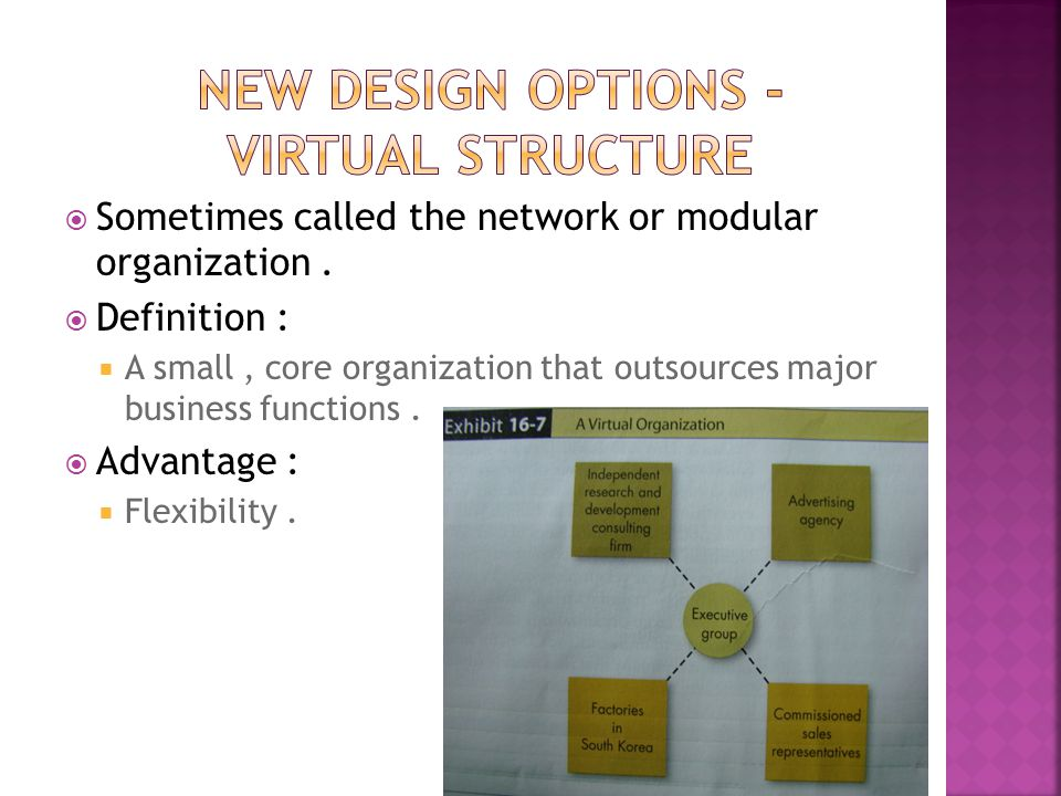  Sometimes called the network or modular organization.