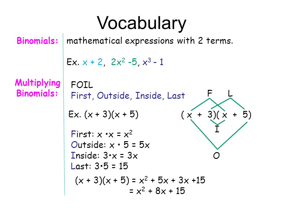 mathematical expressions with 2 terms. Ex.
