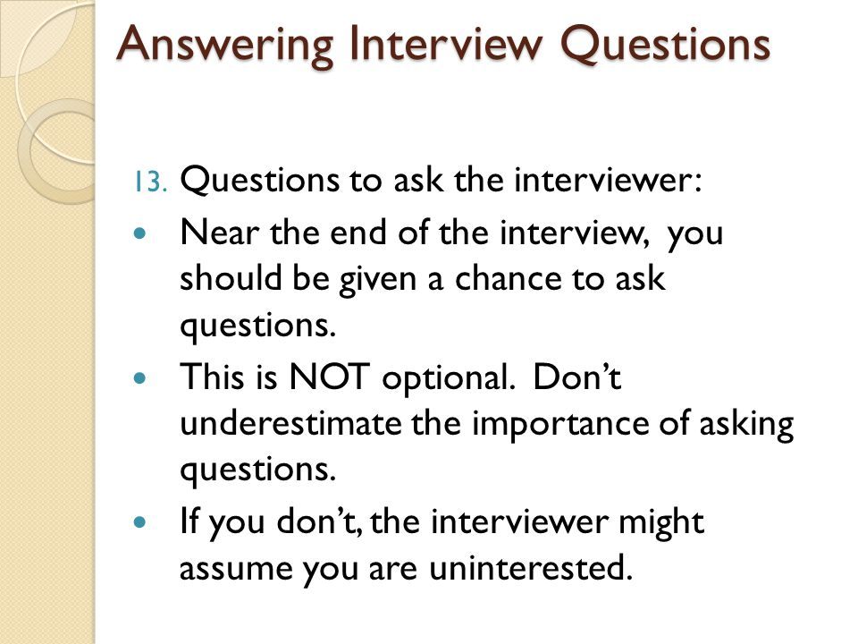 questions to ask interviewers