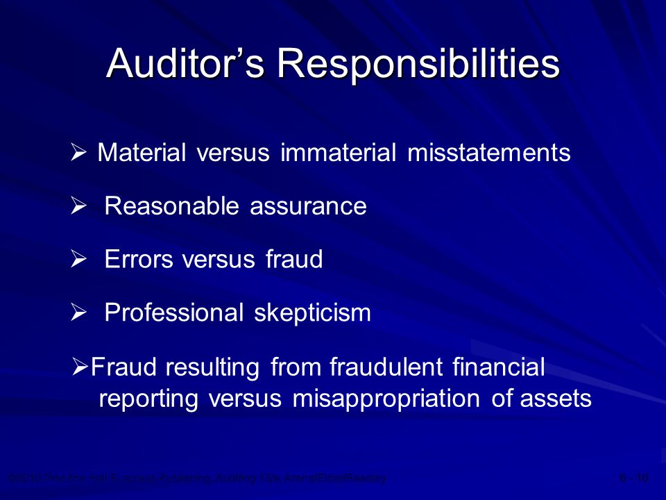 ©2010 Prentice Hall Business Publishing, Auditing 13/e, Arens/Elder/Beasley Auditor's Responsibilities  Material versus immaterial misstatements  Reasonable assurance  Errors versus fraud  Professional skepticism  Fraud resulting from fraudulent financial reporting versus misappropriation of assets