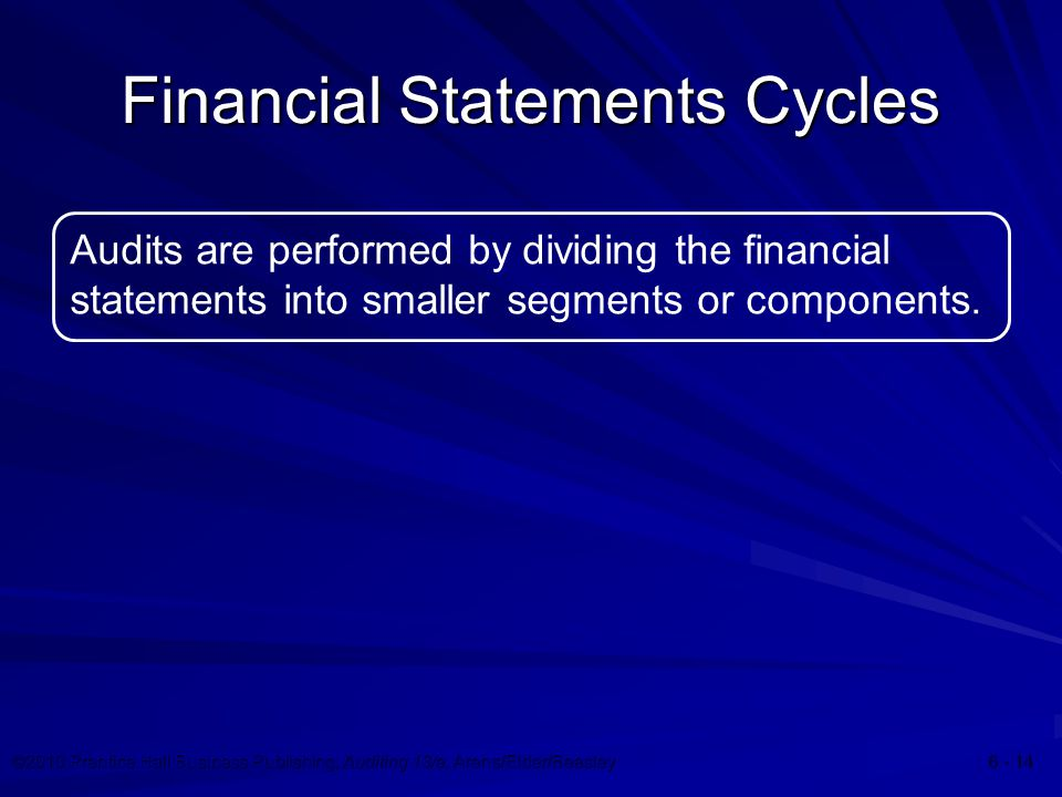 ©2010 Prentice Hall Business Publishing, Auditing 13/e, Arens/Elder/Beasley Financial Statements Cycles Audits are performed by dividing the financial statements into smaller segments or components.