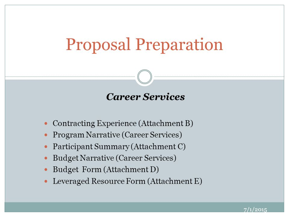 Career Services Contracting Experience (Attachment B) Program Narrative (Career Services) Participant Summary (Attachment C) Budget Narrative (Career Services) Budget Form (Attachment D) Leveraged Resource Form (Attachment E) Proposal Preparation 7/1/2015