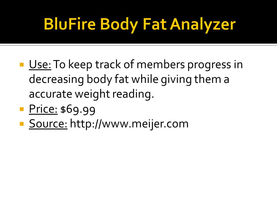  Purpose: To measure ones weight while at the same time providing a accurate reading of ones body fat percentage.