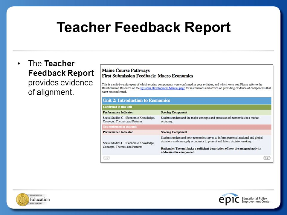 Teacher Feedback Report The Teacher Feedback Report provides evidence of alignment.
