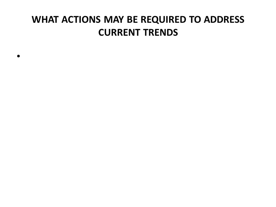 WHAT ACTIONS MAY BE REQUIRED TO ADDRESS CURRENT TRENDS