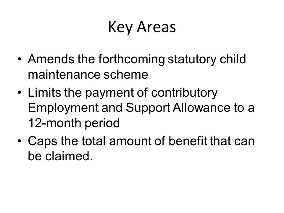 Key Areas Amends the forthcoming statutory child maintenance scheme Limits the payment of contributory Employment and Support Allowance to a 12-month period Caps the total amount of benefit that can be claimed.
