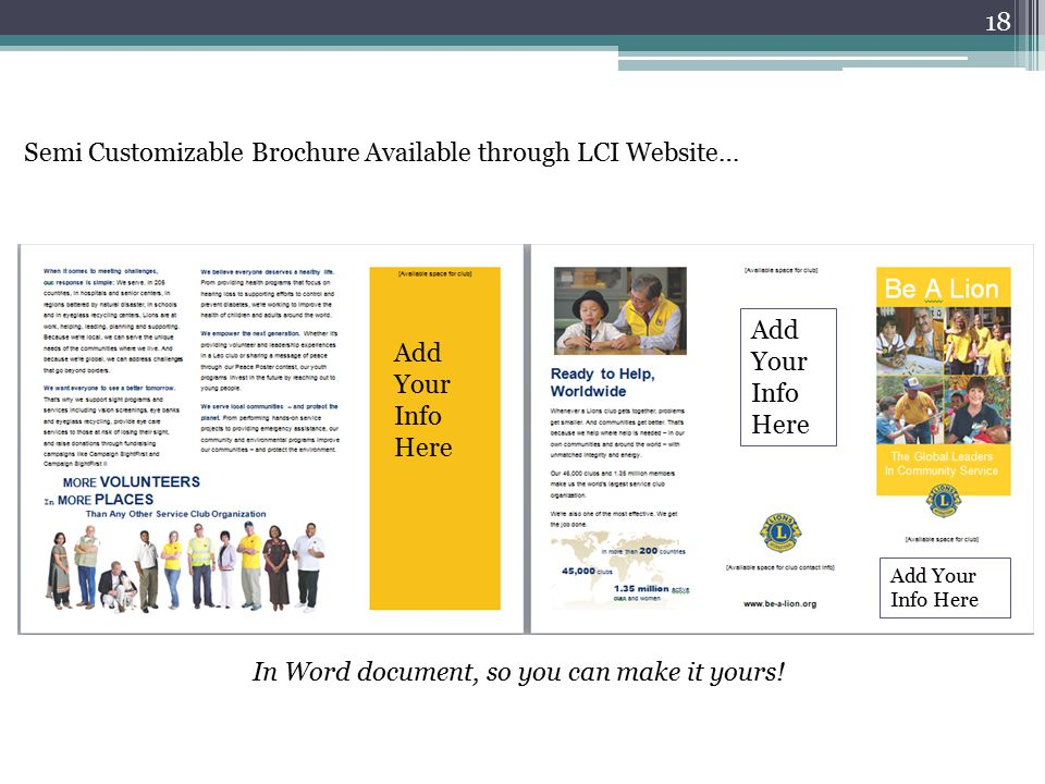 Semi Customizable Brochure Available through LCI Website… Add Your Info Here Add Your Info Here Add Your Info Here In Word document, so you can make it yours.