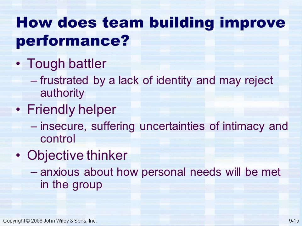 Copyright © 2008 John Wiley & Sons, Inc.9-15 How does team building improve performance.