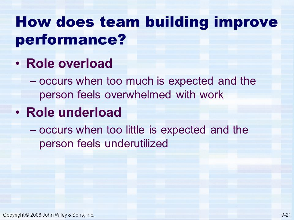 Copyright © 2008 John Wiley & Sons, Inc.9-21 How does team building improve performance.