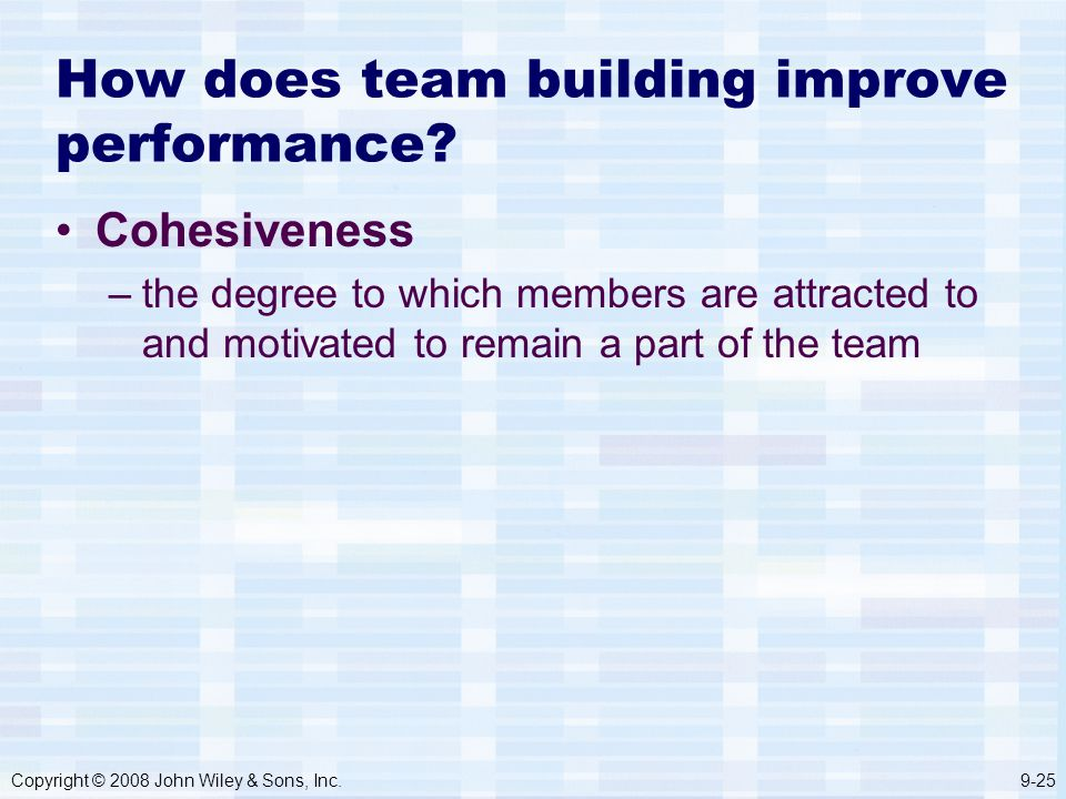 Copyright © 2008 John Wiley & Sons, Inc.9-25 How does team building improve performance.