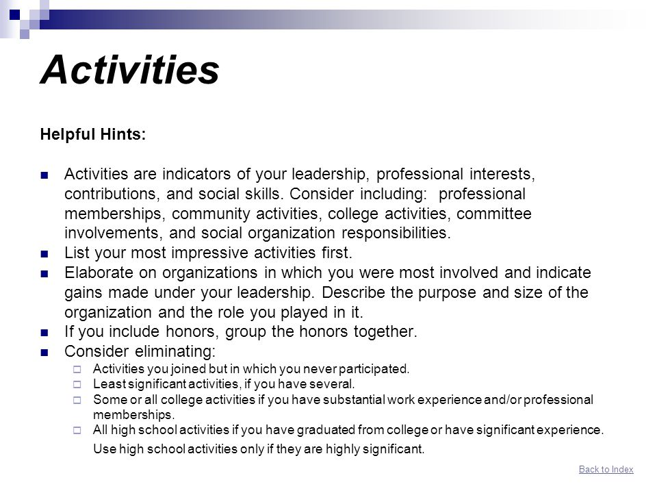 and activities for resume