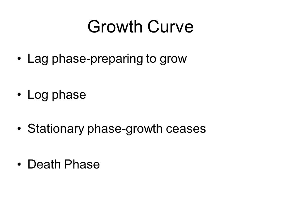 Growth Curve Lag phase-preparing to grow Log phase Stationary phase-growth ceases Death Phase