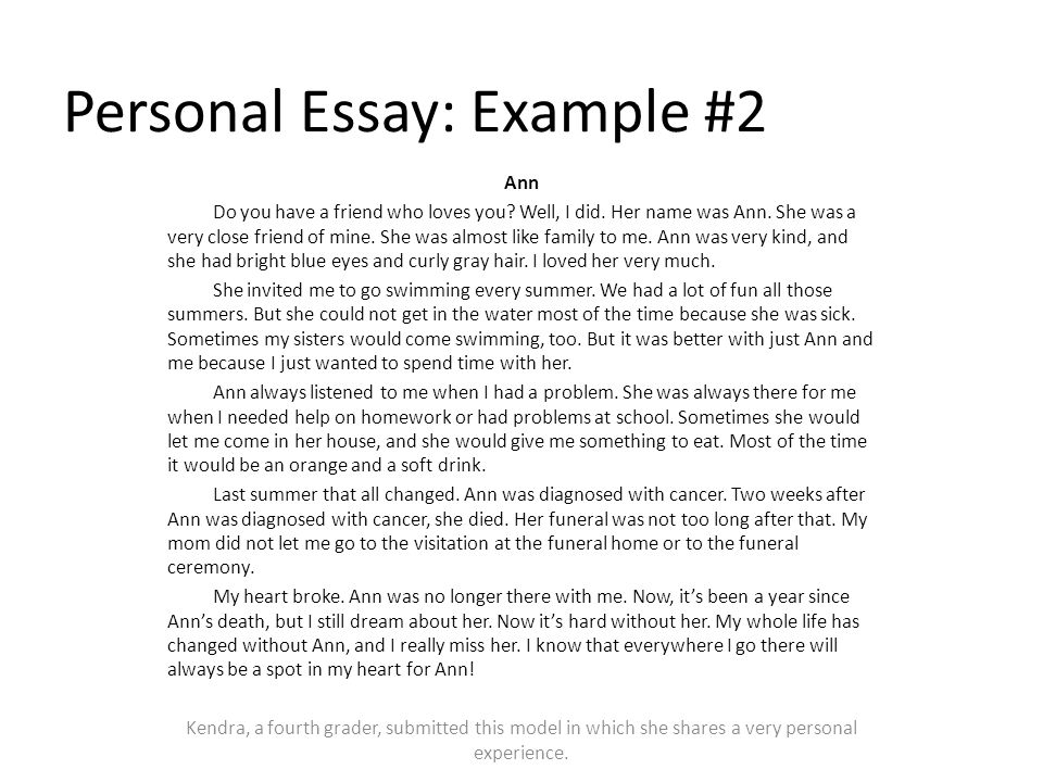 From Thesis To Essay Writing Personal Narrative Essay Examples High School Essaycover Letter  Essay My Family English also Good English Essays Examples A Personal Essay  Underfontanacountryinncom High School Memories Essay
