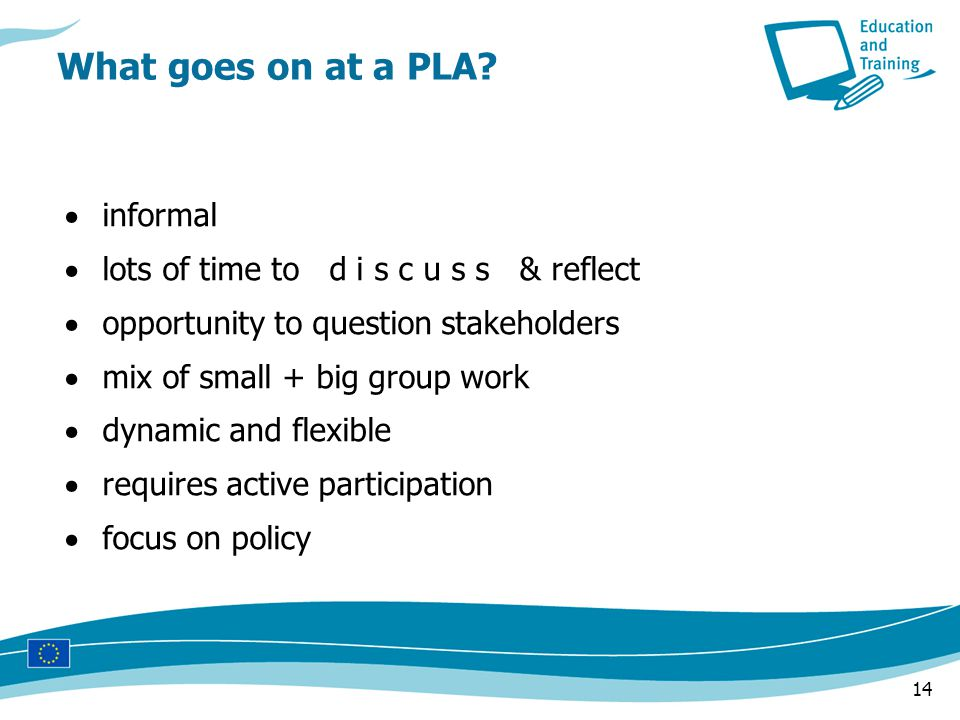 14  informal  lots of time to d i s c u s s & reflect  opportunity to question stakeholders  mix of small + big group work  dynamic and flexible  requires active participation  focus on policy What goes on at a PLA