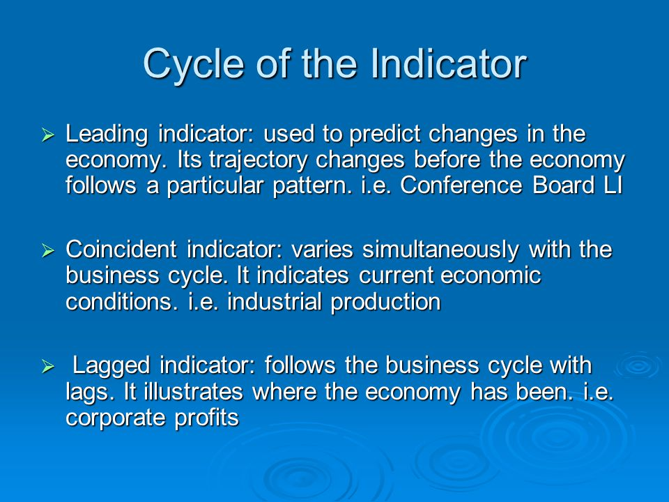 Cycle of the Indicator  Leading indicator: used to predict changes in the economy.