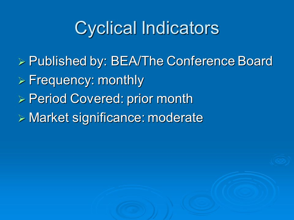 Cyclical Indicators  Published by: BEA/The Conference Board  Frequency: monthly  Period Covered: prior month  Market significance: moderate