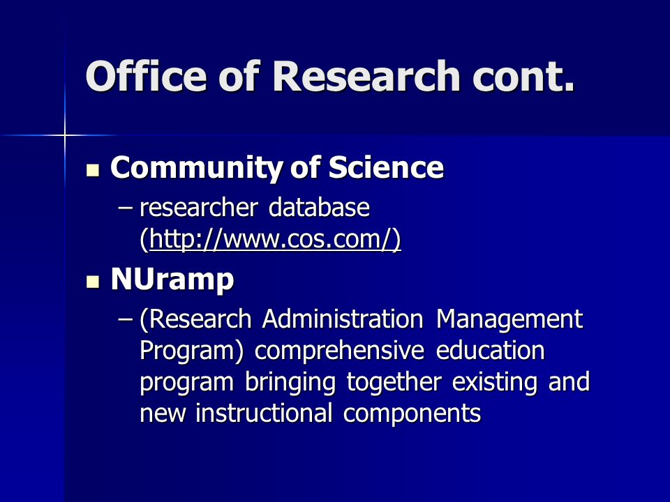 Office of Research cont.
