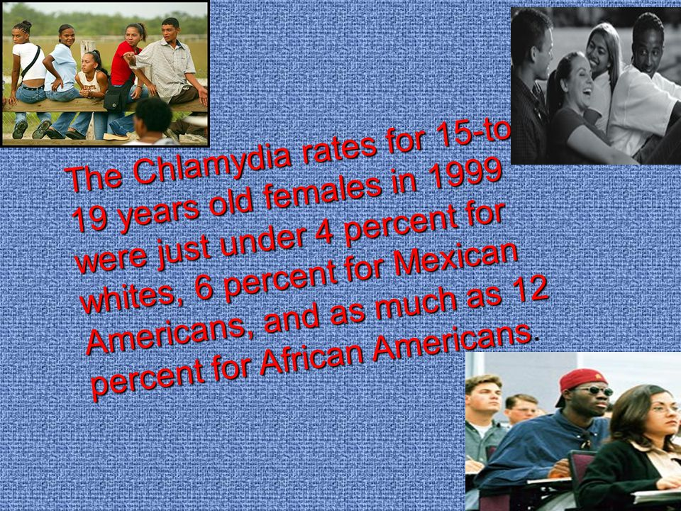 The Chlamydia rates for 15-to- 19 years old females in 1999 were just under 4 percent for whites, 6 percent for Mexican Americans, and as much as 12 percent for African Americans The Chlamydia rates for 15-to- 19 years old females in 1999 were just under 4 percent for whites, 6 percent for Mexican Americans, and as much as 12 percent for African Americans.
