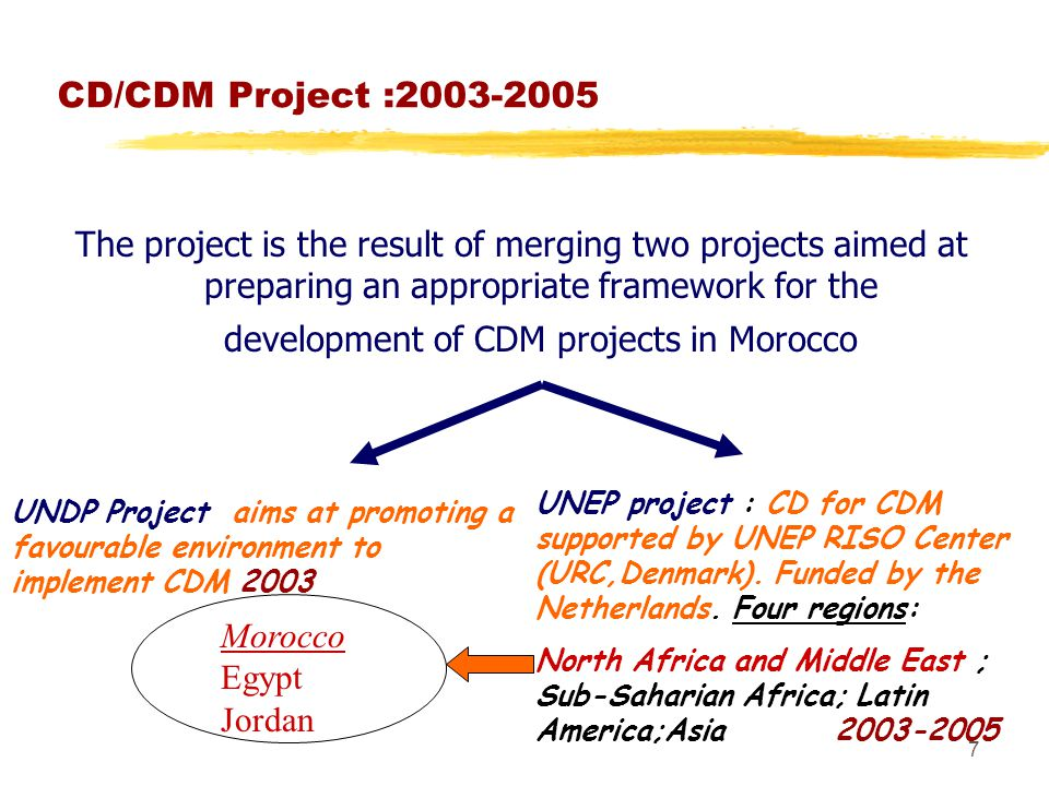 7 CD/CDM Project : The project is the result of merging two projects aimed at preparing an appropriate framework for the development of CDM projects in Morocco UNDP Project aims at promoting a favourable environment to implement CDM 2003 UNEP project : CD for CDM supported by UNEP RISO Center (URC,Denmark).
