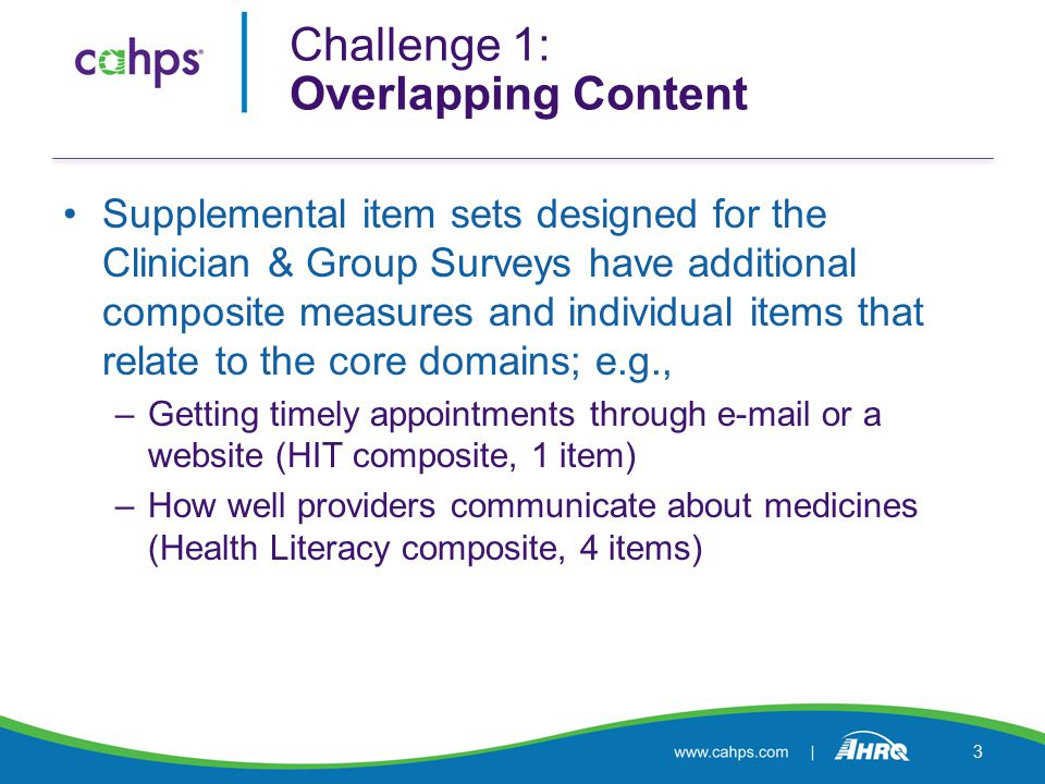 Supplemental item sets designed for the Clinician & Group Surveys have additional composite measures and individual items that relate to the core domains; e.g., –Getting timely appointments through  or a website (HIT composite, 1 item) –How well providers communicate about medicines (Health Literacy composite, 4 items) Challenge 1: Overlapping Content 3