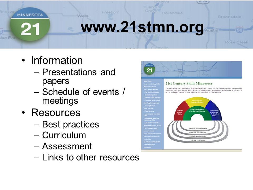 Information –Presentations and papers –Schedule of events / meetings Resources –Best practices –Curriculum –Assessment –Links to other resources
