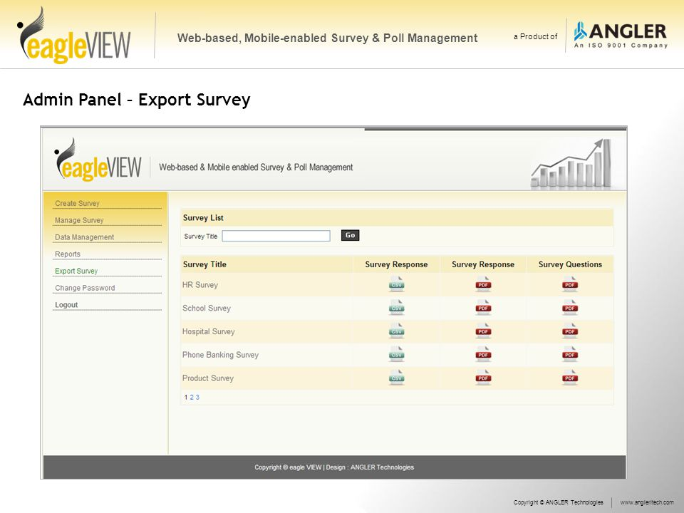 Admin Panel – Export Survey Copyright © ANGLER Technologieswww.angleritech.com Web-based, Mobile-enabled Survey & Poll Management a Product of