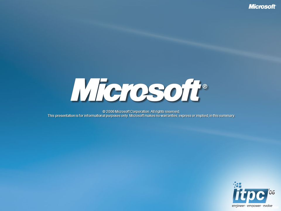 Copyright Microsoft Corp © 2006 Microsoft Corporation.