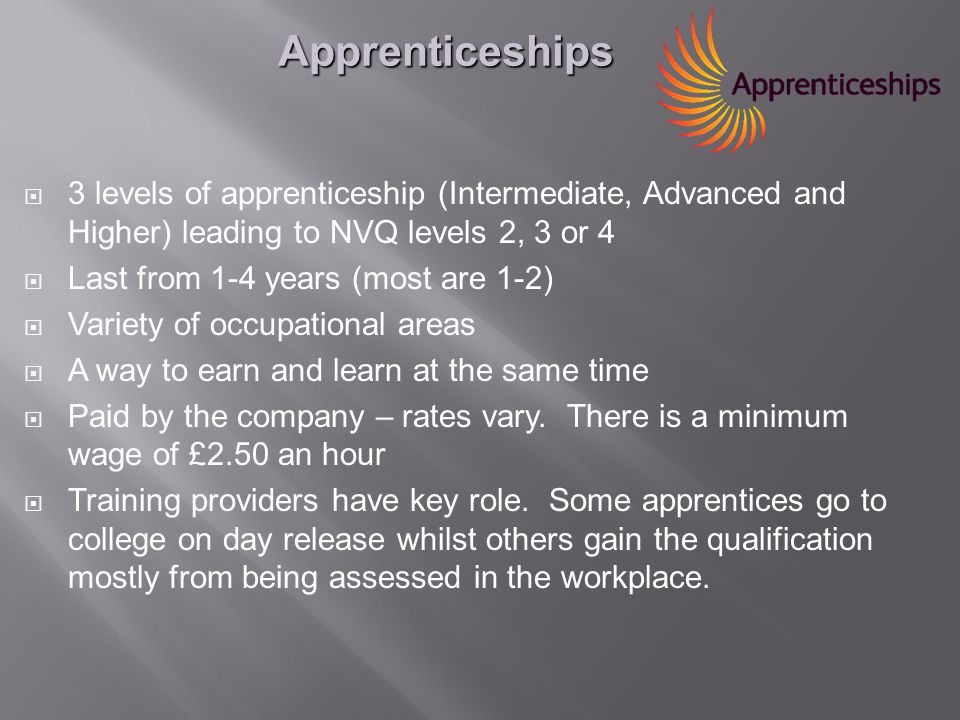  3 levels of apprenticeship (Intermediate, Advanced and Higher) leading to NVQ levels 2, 3 or 4  Last from 1-4 years (most are 1-2)  Variety of occupational areas  A way to earn and learn at the same time  Paid by the company – rates vary.