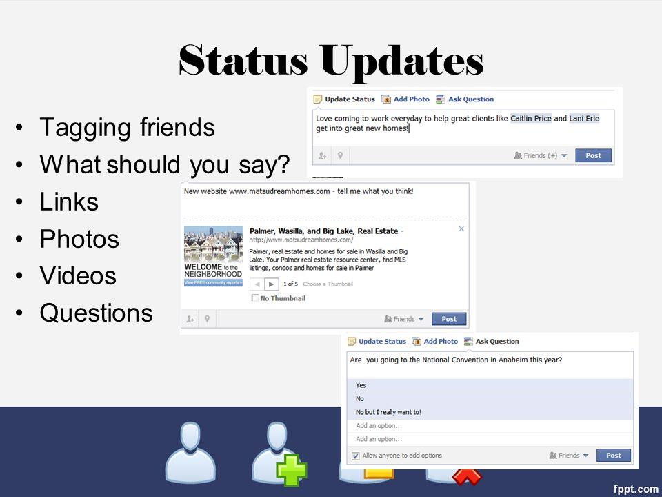 Status Updates Tagging friends What should you say Links Photos Videos Questions