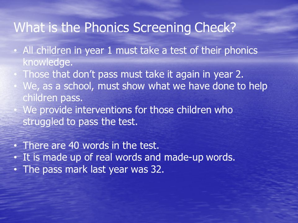 What is the Phonics Screening Check.