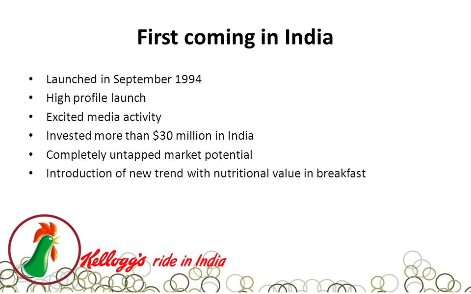 First coming in India Launched in September 1994 High profile launch Excited media activity Invested more than $30 million in India Completely untapped market potential Introduction of new trend with nutritional value in breakfast