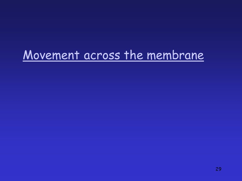 29 Movement across the membrane