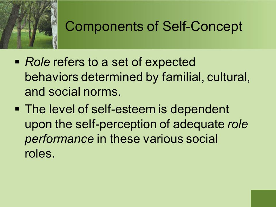 Components of Self-Concept  Role refers to a set of expected behaviors determined by familial, cultural, and social norms.  The level of self-esteem