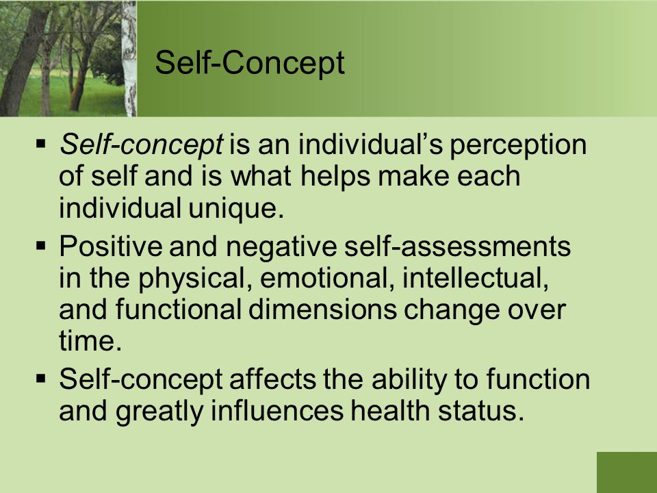  Self-concept is an individual's perception of self and is what helps make each individual unique.  Positive and negative self-assessments in the ph