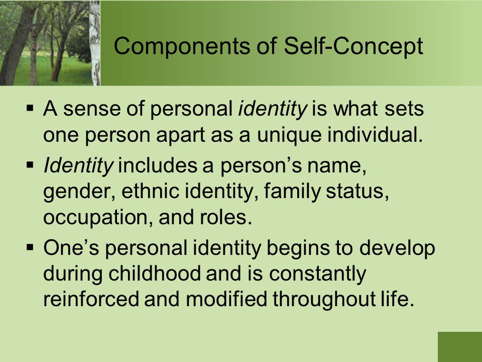 Components of Self-Concept  A sense of personal identity is what sets one person apart as a unique individual.  Identity includes a person's name, g