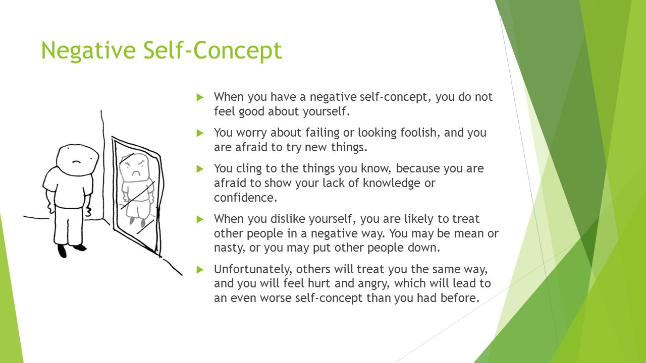 Negative Self-Concept  When you have a negative self-concept, you do not feel good about yourself.