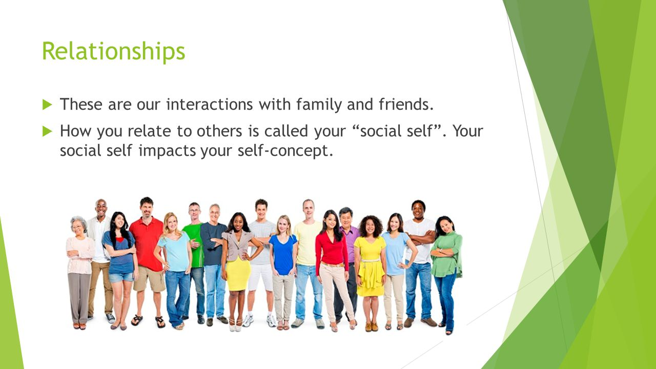 Relationships  These are our interactions with family and friends.
