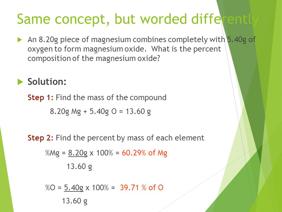 Same concept, but worded differently  An 8.20g piece of magnesium combines completely with 5.40g of oxygen to form magnesium oxide.