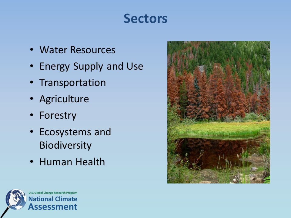 Sectors Water Resources Energy Supply and Use Transportation Agriculture Forestry Ecosystems and Biodiversity Human Health