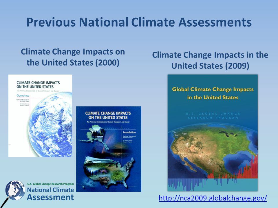 Previous National Climate Assessments Climate Change Impacts on the United States (2000) Climate Change Impacts in the United States (2009)