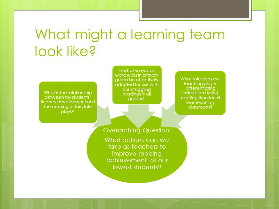 What might a learning team look like.