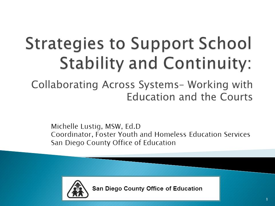 Collaborating Across Systems– Working with Education and the Courts Michelle Lustig, MSW, Ed.D Coordinator, Foster Youth and Homeless Education Services San Diego County Office of Education 1