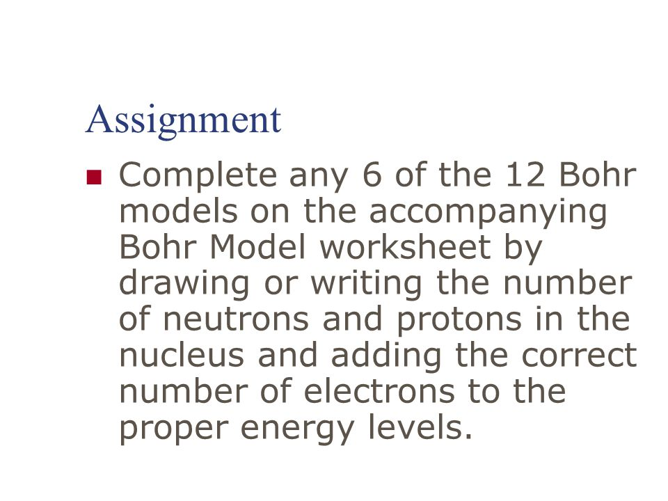 Drawing Bohr Models for Mrs Martindales class Remember Matter – Bohr Model Worksheet