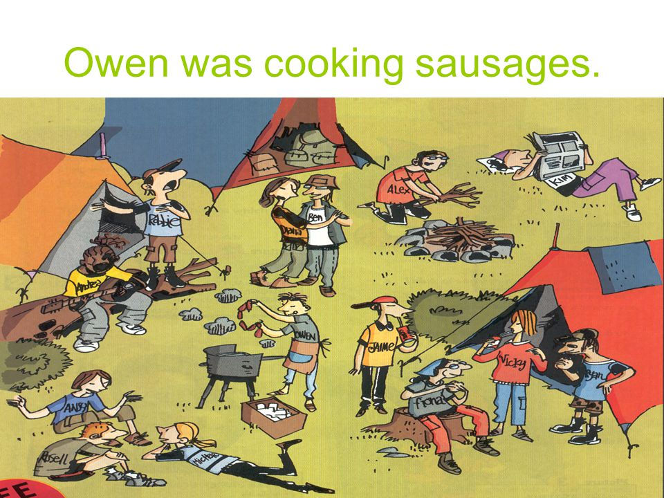 Owen was cooking sausages.