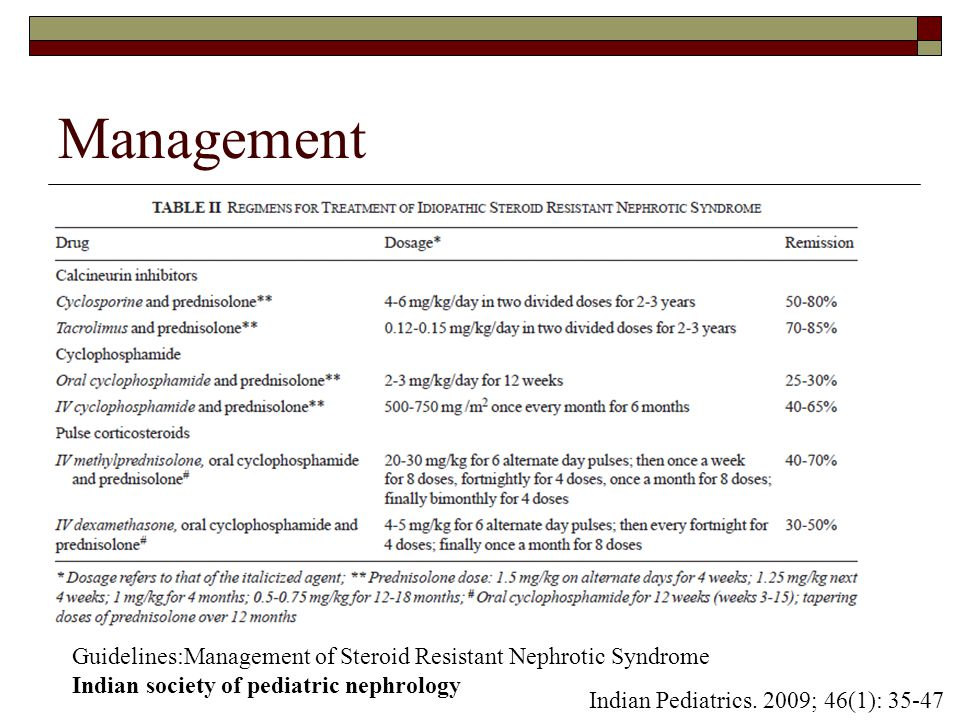 management of steroid dependent nephrotic syndrome