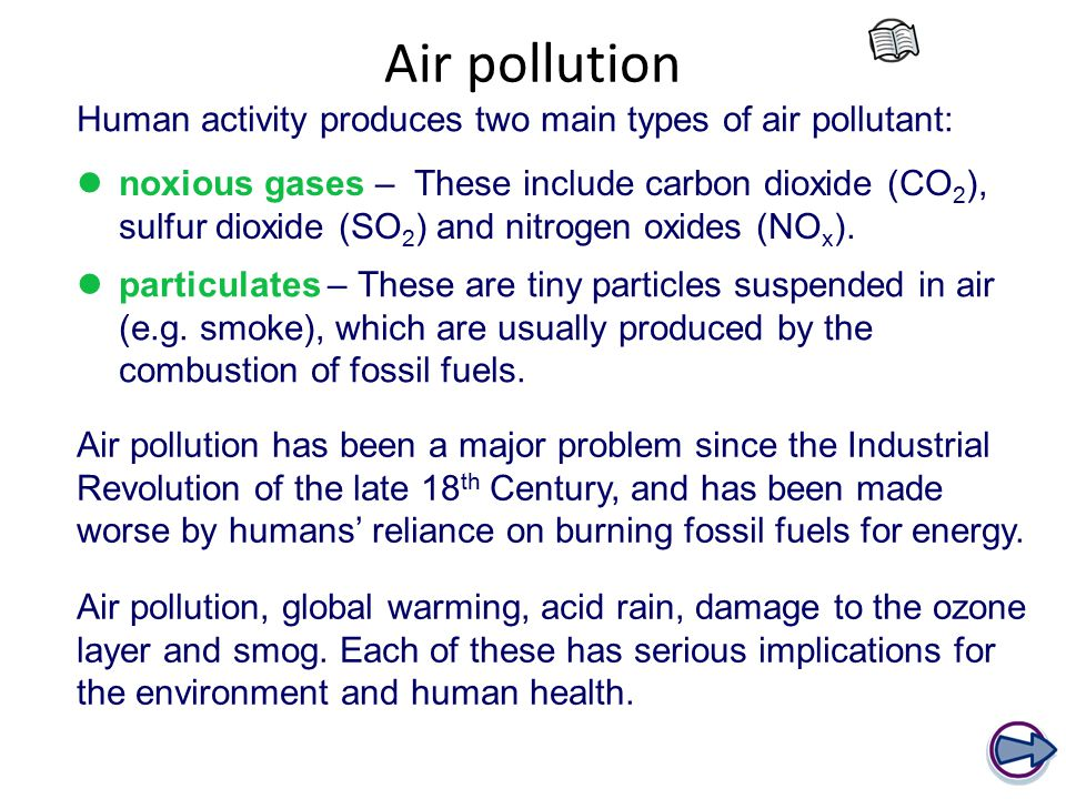 Air pollution Human activity produces two main types of air pollutant: particulates – These are tiny particles suspended in air (e.g.